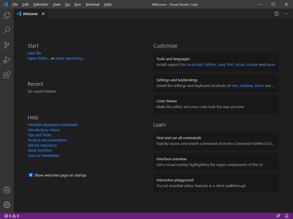 Windows - Visual Studio Code - Primo avvio