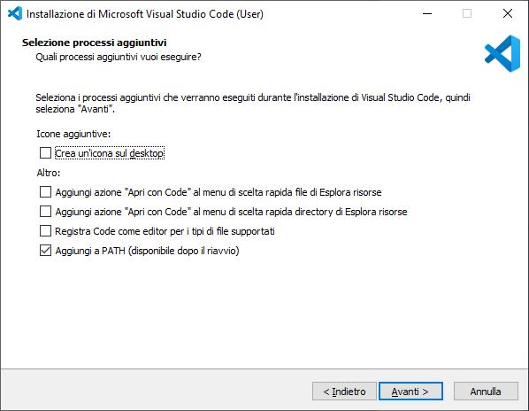 Windows - Visual Studio Code - Selezione processi aggiuntivi