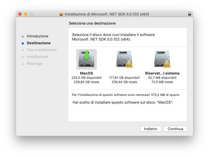 macOS - Microsoft .Net Framework - Installazione - Destinazione