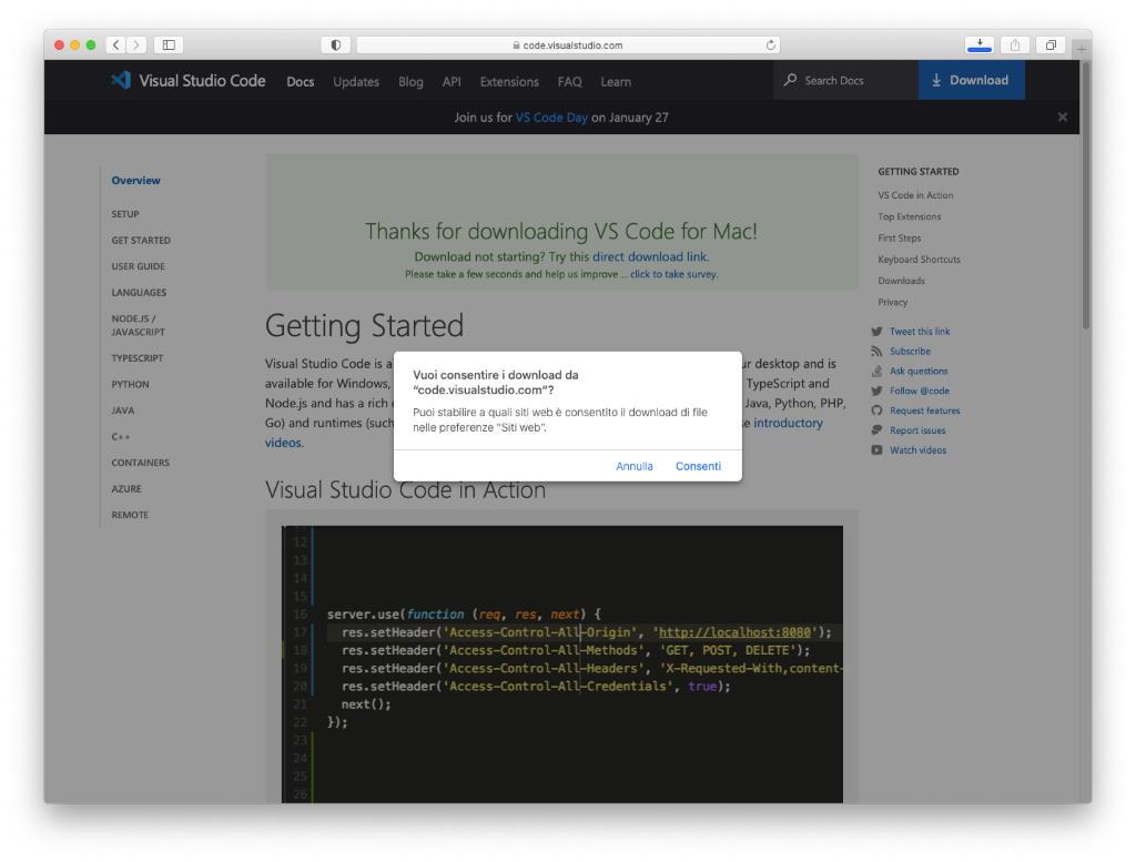 macOS - Visual Studio Code - Conferma Download