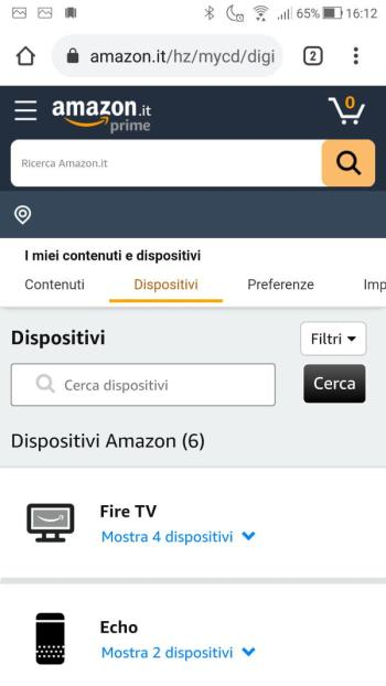 Amazon - Il Mio account - Dispositivi