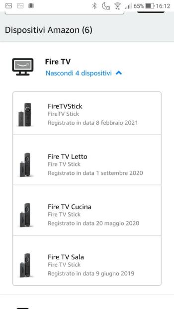 Amazon - Il Mio account - Dispositivi - Fire TV