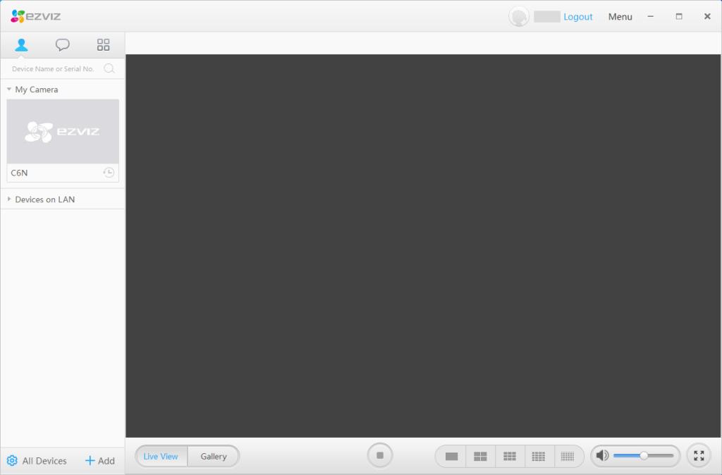 EZVIZ - PC Studio - Accesso con login effettuato