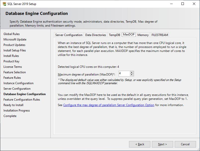 Microsoft Sql Server 2019 - Setup - Database Engine Configuration - MaxDOP