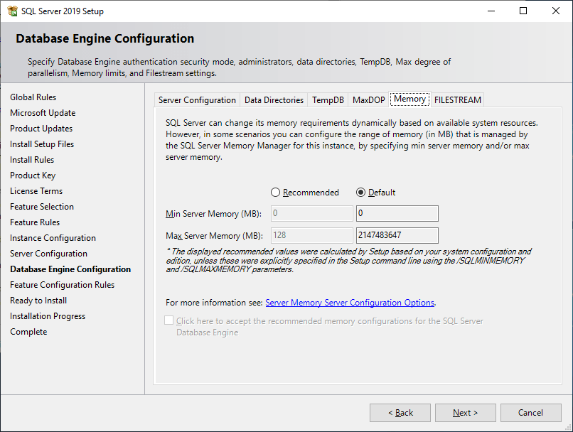 Microsoft Sql Server 2019 - Setup - Database Engine Configuration - Memory