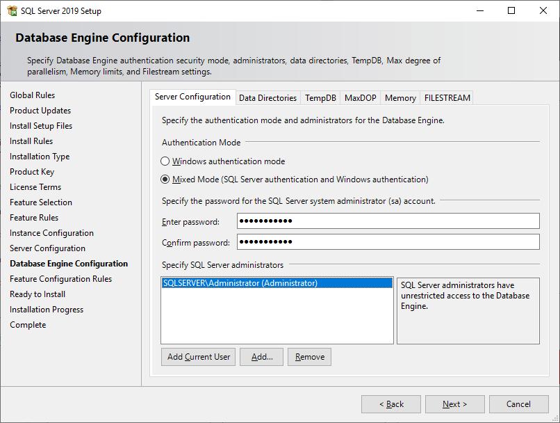 Microsoft Sql Server 2019 - Setup - Database Engine Configuration - Administrators - Mixed Mode