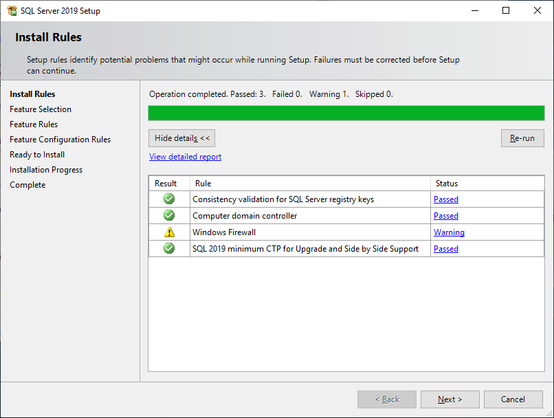 Microsoft Sql Server 2019 - Setup - Install Rules
