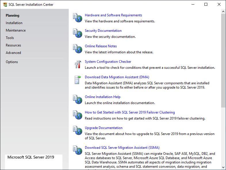 Microsoft Sql Server 2019 - Installation center