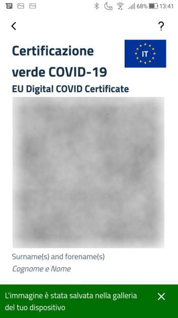 App IO - Green Pass - Covid-19 - Certificato Salvato