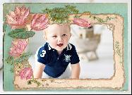 Фоторамка винтажная с цветами - онлайн бесплатно вставить фото