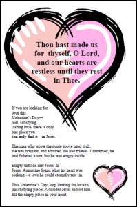 Valentines Day Bulletin Insert or Postcard