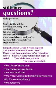 Easter Questions flyer in Jpg format