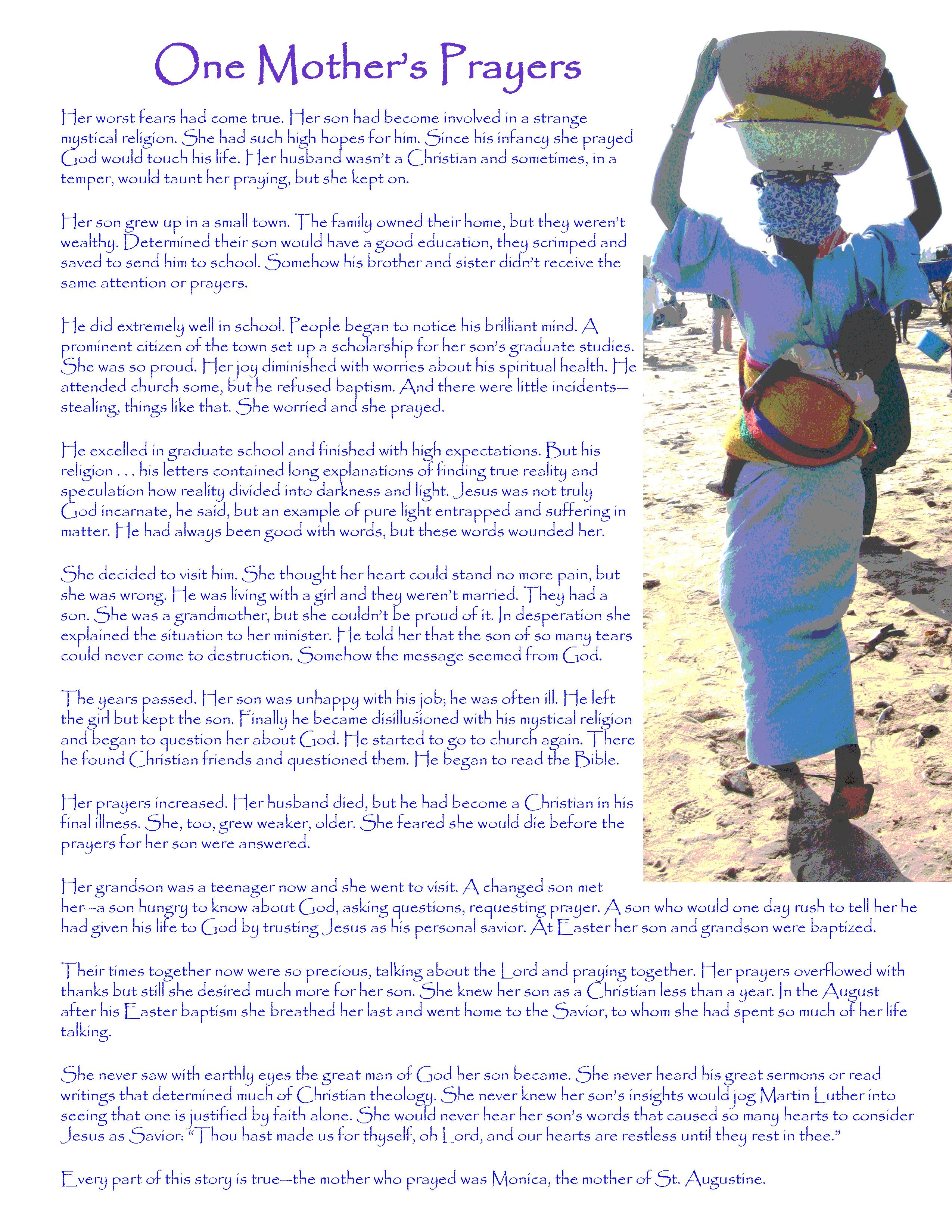 One Mother's Prayer, a free and inspiring bulletin insert