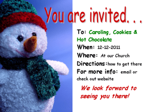 Christmas Invitation Color, snow man, with details