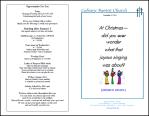Christmas church bulletin example