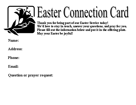 Easter Connection Card B&W Panic Pack