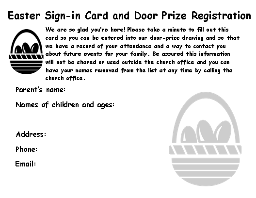 Easter Door Prize & Registration Card, B&W Panic Pack