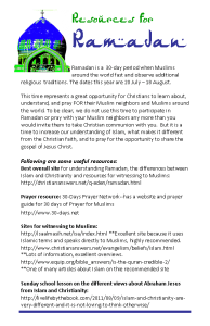 Ramadan Resources bulletin insert, color image