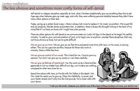 Flyer for Lent for different kinds of self-discipline