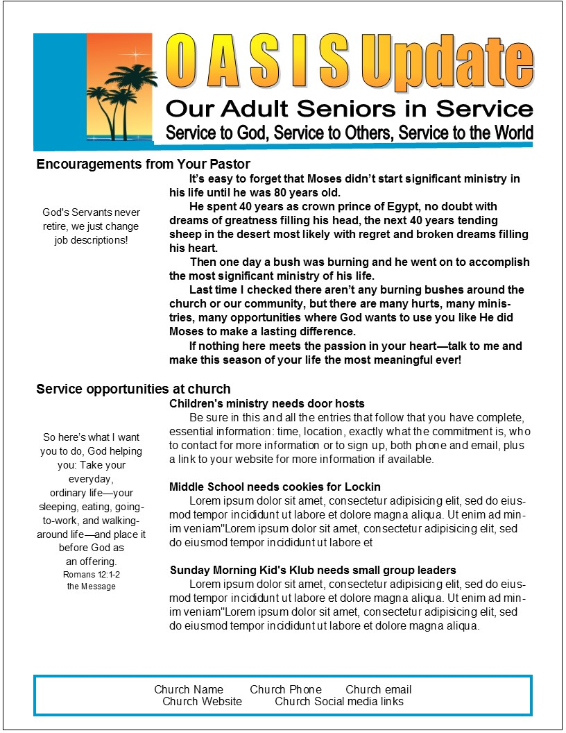 Easy Page Senior Newsletter Template In MS Publisher Effective - Two page newsletter template