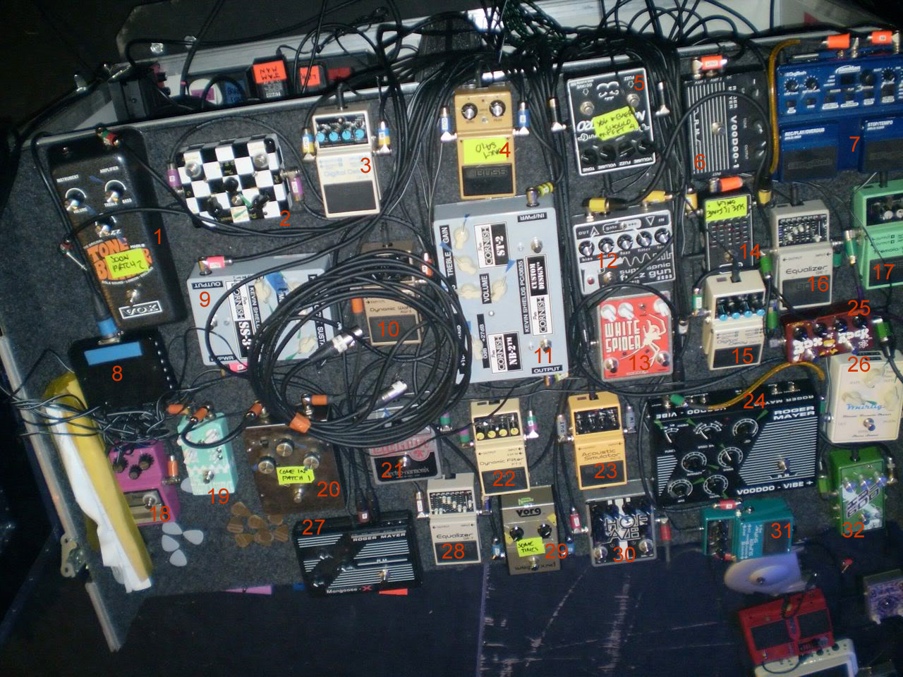 Kevin Shields My Bloody Valentine Pedal Boards
