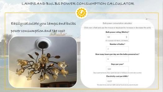 Lamp electricity consumption calculator