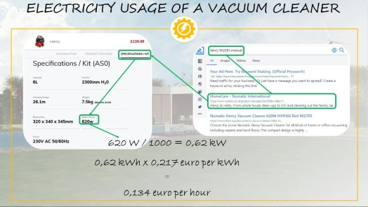Electricity usage of a vacuum cleaner