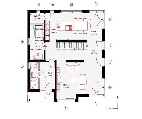 Erdgeschoss-Grundriss des neuen OKAL-Musterhauses in Fellbach mit großem Wohnbereich.