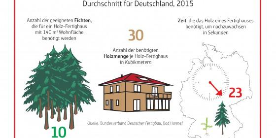 In 23 Sekunden wächst ein Holz-Fertighaus nach. Grafik: BDF