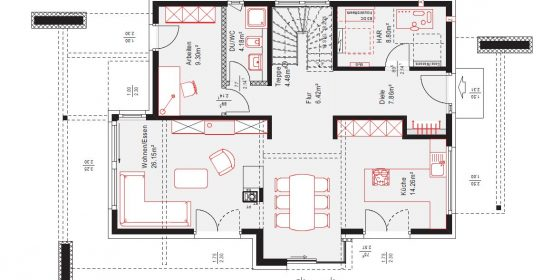 Grundriss des Erdgeschosses des neuen OKAL Musterhauses in Poing