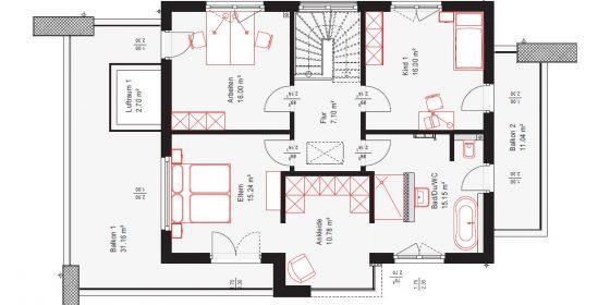 Im Obergeschoss bietet die Stadtvilla auf einer Grundfläche von 126,77 m² neben Arbeitszimmer, Kinderzimmer und Schlafzimmer mit Balkon auch einen Ankleideraum, der sich ans Bad anschließt und dieses mit dem Schlafzimmer verbindet.