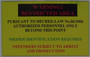 sign prohibiting access written in obscure legal language