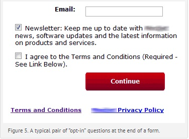 box requiring email with opt-in option already ticked