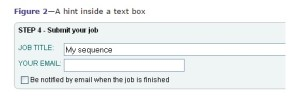 text box where a hint has been entered into the box requesting job title