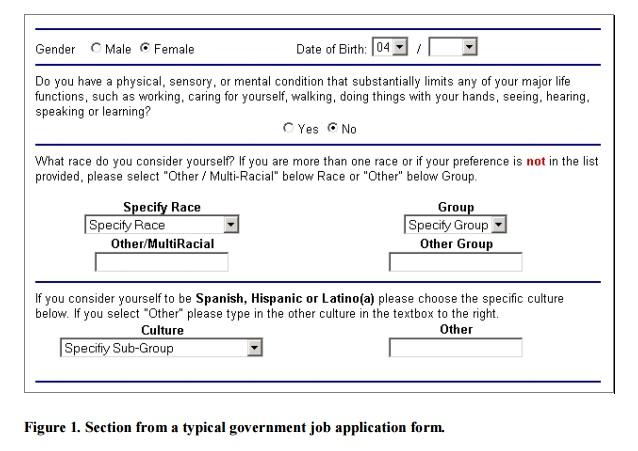 Jumbled and confusing text and boxes on a government job application form