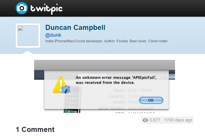 "Screengrab of error message reading 'An unknown error message ""APIEpicFail"" was received from the device.'"