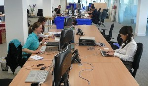 people working at their computers in an office