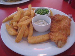 A plate of fish and chips dreamed up by Heston Blumenthal for Little Chef