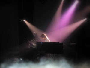 Deep Purple play a concert under purple lights