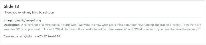 """A screenshot of a Miro board. It starts with """"We want to know what users think about our new funding application process"""". Then there are areas for """"Why do you want to know?"""", """"What decision will you make based on these answers?"""" and """"What number do you need to make the decision?"""""""