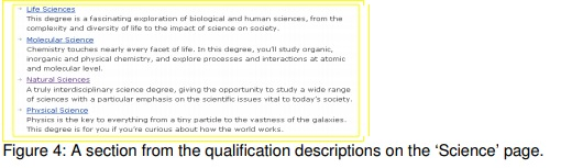 A section from the qualifications descriptions on the science page