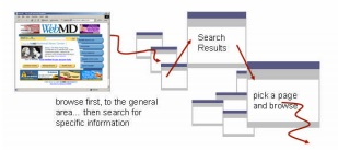 in this journey the user browses first then goes to search to find specific information