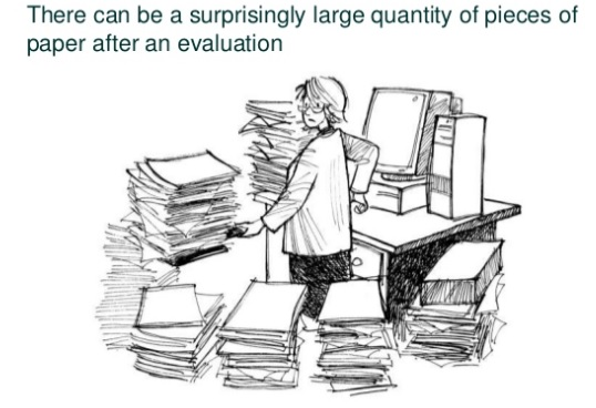 researcher surrounded by huge piles of paper