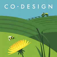 Co-design. A farmer ploughs a field, a bee visits a dandelion, and leaves show that they are working together