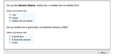 Respondents who choose 'dislike' in answer to a question on their feelings about Barack Obama, receive a follow-up question asking whether they dislike him a great deal, a moderate amount or a little