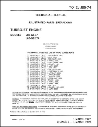 General Electric J85 Ge 17 J85 Ge 17a Engine Illustrated