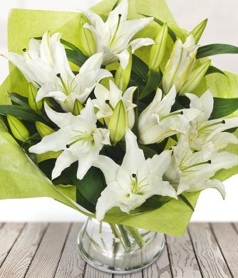 Stunning White Lily Bouquet   Send Flowers Online