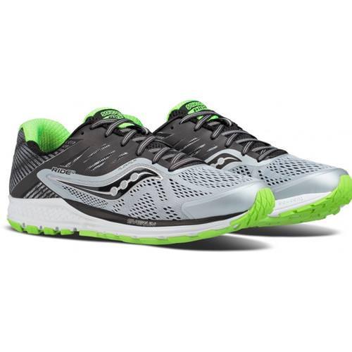 Saucony Ride 10 Men's Running Grey Black Slime S20373-1