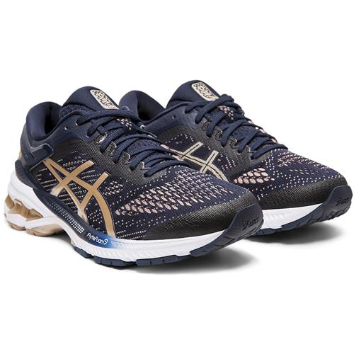 Asics Gel Kayano 26 Women's Wide D Running Shoe Midnight Frosted Almond 1012A459 400