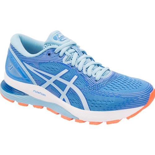 Asics Gel Nimbus 21 Women's Running Shoe Wide D Blue Coast Skylight 1012A155 400